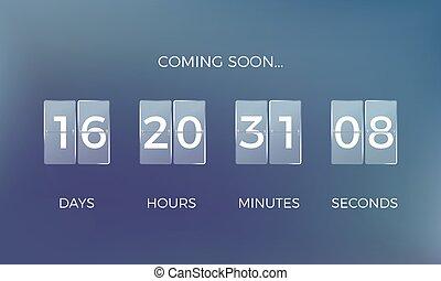 compte, temps, bas., bientôt, clock., compte rebours, vecteur, illustration, venir, rester