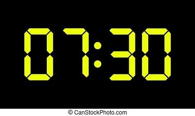 compte, zéro, horloge numérique