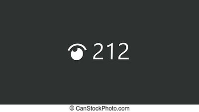 compteur, compte, ruisseau, vues, vivant, animation, vidéo, utilisateur, fin, video., haut., 4k
