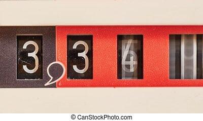 compteur, mètre, mécanique, essence, tourner, analogue