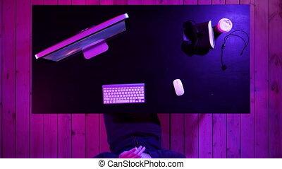 computer., gamer, jouant jeu