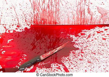 concept, éclaboussure, halloween, sanglant, sanguine, :, couteau