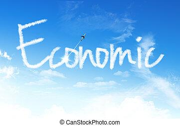 concept, économique, nuage, business