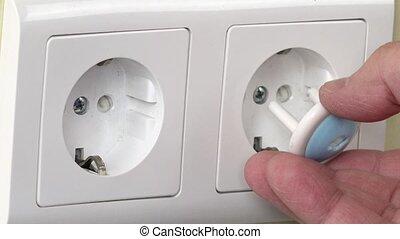 concept, électricité, choc, sécurité, enfant, bébé