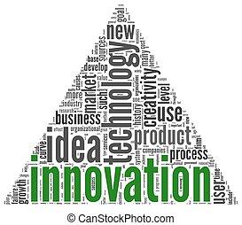 concept, étiquette, nuage, mots, innovation
