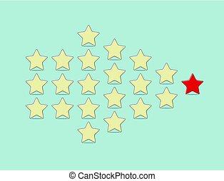 concept, étoiles, jaune, vecteur, direction, rouges