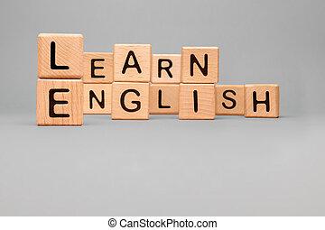 concept, étranger, cubes., apprentissage, tutoring., apprendre, bloc, cours, anglaise, parler, mot, lettre, jouet, cubes, bois, formation, education, langue, icône