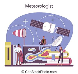 concept., étudier, temps, météorologiste, rechercher, forecaster