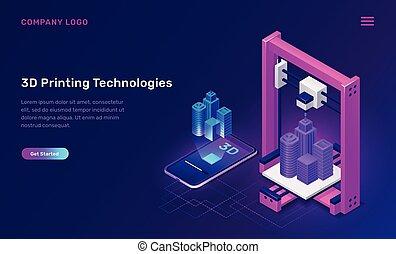 concept, 3d, technologie, isométrique, imprimante