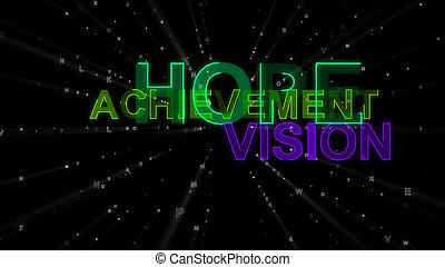 concept, accomplissement, vision, mots, espoir