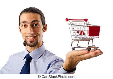 concept, achats, business, -, charrette, tenant mains