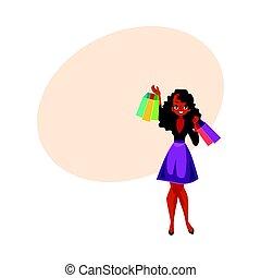 concept, achats femme, sacs, vente, girl, africaine, noir, heureux