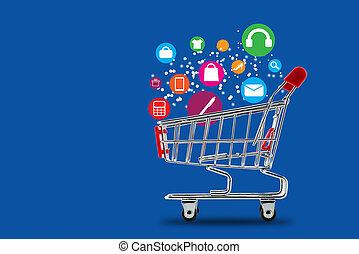 concept, achats, marché, charrette, ligne