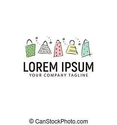 concept, achats, sac main, conception, gabarit, logo, dessiné