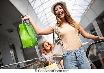 concept., achats, sacs, belles filles, achats, amusement, ctiy, tourisme