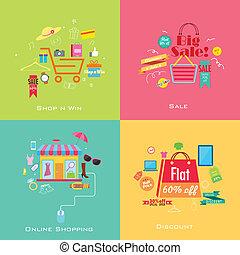 concept, achats, vente, ligne