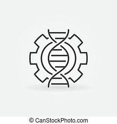 concept, adn, linéaire, roue dentée, vecteur, icône