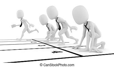 concept affaires, concurrence, fond, homme affaires, blanc, homme, 3d