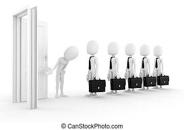 concept affaires, fond, blanc, 3d, homme