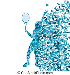 concept, affiche, joueurs tennis, silhouettes, vecteur, fond, fragments, fait