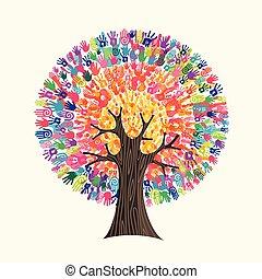 concept, aide, coloré, arbre, main, social, impression