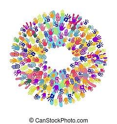 concept, aide, main, collaboration, impression, cercle