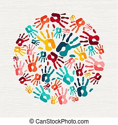 concept, aide, main, humain, social, impression