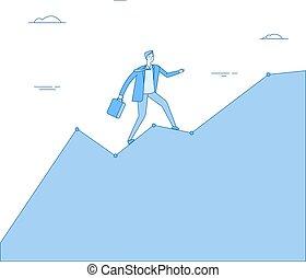 concept, aller, diagram., reussite, carrière, graphique, haut, diagramme, chart., vecteur, croissance, performance, homme affaires, montée, investissement, homme