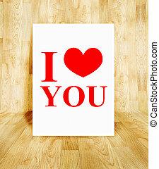 concept, amour, affiche, salle, valentin, bois, parquet, mot, blanc, vous
