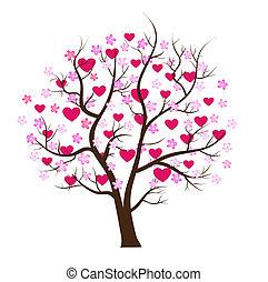 concept, amour, arbre, valentin, vecteur, jour