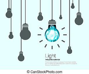 concept, ampoules, industriel, science, idée, illustration, arrière-plan., vecteur, lumière