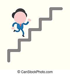 concept, anonyme, caractère, haut, illustration, courant, vecteur, homme affaires, escalier