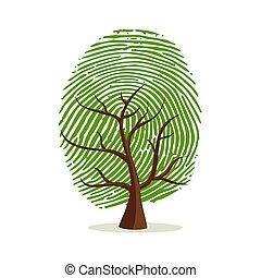 concept, arbre, doigt, humain, impression, identité
