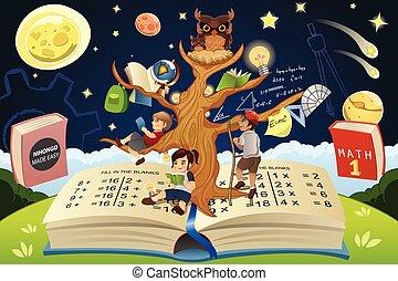 concept, arbre, education