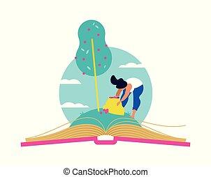 concept, arbre, livre, croissant, education, ouvert