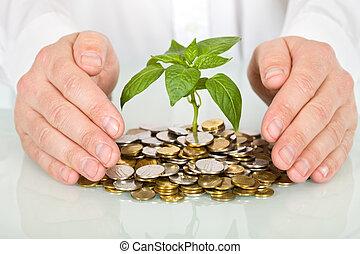 concept, argent, bon, confection, protéger, investissement