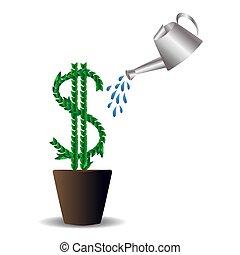 concept, argent, petit, dehors, incomes, sommet, arrosage, vergé, dollar, international, formulaire, arbres, pots, cans., apporter, graphique, désignation, feuilles, grand, américain, vert, investissements croissants