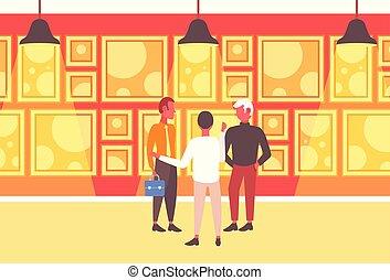 concept, art, association, conversation, debout, groupe, trois, intérieur, nouveau, réunion, plat, entiers, hommes affaires, horizontal, galerie, sur, ensemble, projet, longueur, hommes affaires, avoir
