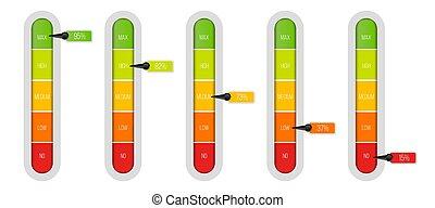 concept, art, résumé, mètre, infographic, conception, template., indicateur, isolé, créatif, arrière-plan., unités, progrès, pourcentage, illustration, glisseur, transparent, graphique, barre, niveau, élément, vecteur