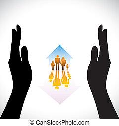 concept, assurer, famille, gens, main., symboles, assurance maison, enfants, silhouette, &, contient, illustration, main, home(residence), représente, aimer, icônes, protection., concepts, sécurité, parents