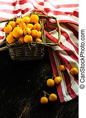 concept, automnal, pommes sauvages