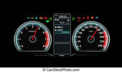 concept, automobile, transport, mètre, animation, tableau bord, voiture, tr/min, vitesse, icône