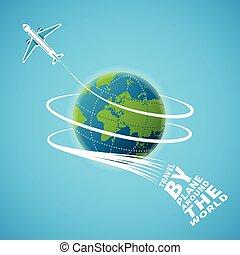 concept, autour de, voyage, air, vecteur, mondiale