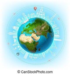 concept, autour de, voyage mondial, vecteur