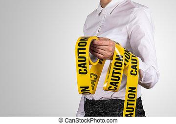 concept, avertissement, tape., calme, restrictions, garder, sécurité, prudence, mesures