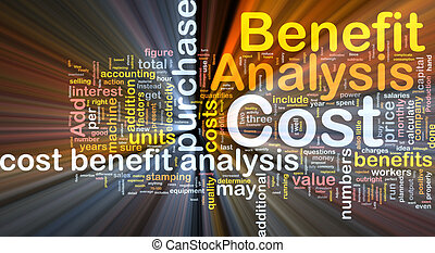 concept, bénéfice, analyse, incandescent, cout, fond