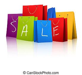 concept, bags., discount., vente, illustration, vecteur, achats