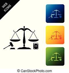 concept, balances, ensemble, marteau, law., icônes, isolé, légal, arrière-plan., livre, carrée, blanc, buttons., coloré, symbole, symbole., illustration, droit & loi, icône, enchère, justice, justice., vecteur