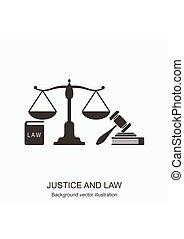 concept, balances, justice, books., icons., marteau, droit & loi