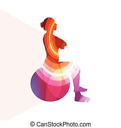 concept, balle, silhouette, coloré, illustration, femme, fond, fitness